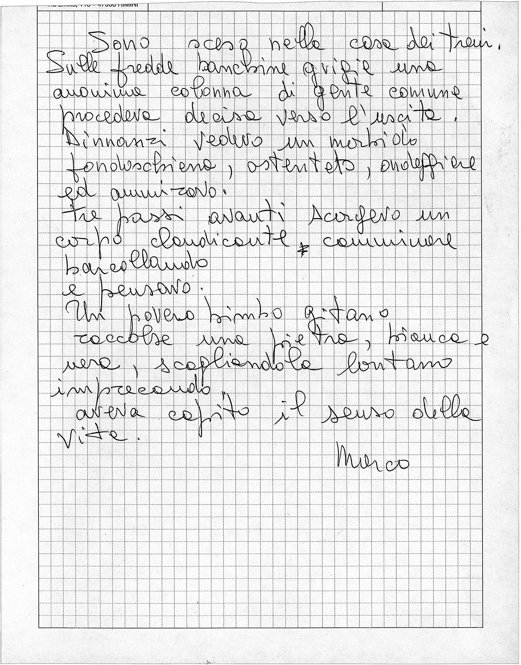 """""""Sono sceso"""", Marco Pesaresi: poesia autografa (Archivio fotografico comunale di Savignano sul Rubicone)."""
